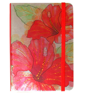 Foil Notebook with Elastic Band - Hibiscus Watercolor