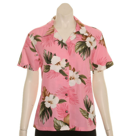 TBD005 - Floral Women's Camp Blouse~ Hib Coral