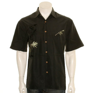 "Bamboo Cay ""Flying Bamboo Black"" - Men's Aloha Shirt (WB2006D))"