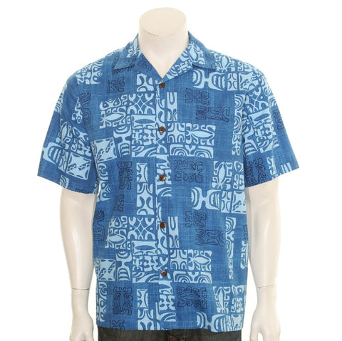 Men's Petro Aloha Shirt ~ Blue