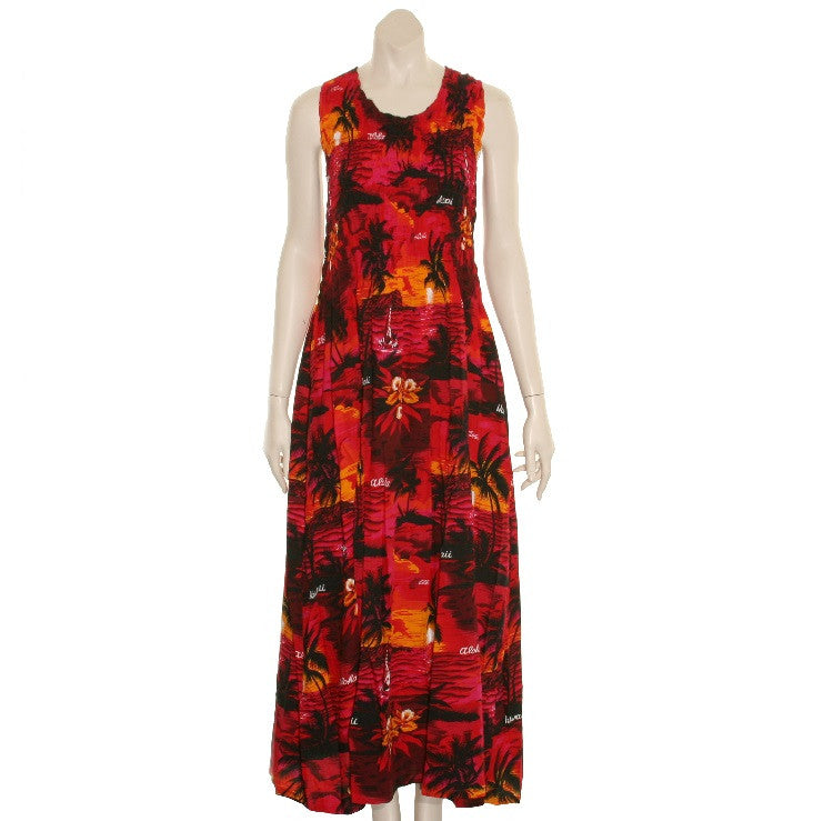 4900e0ee8 Long Hawaiian Palm Tree Tank Style Smock Dress ~Red