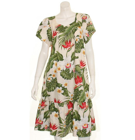 Tulip Sleeve Zipper Back Short Muu Muu ~All Over Tropical Flowers ~ Cream