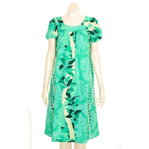 Maile Monstera Panel Tulip Sleeve Dress