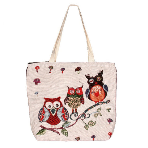 Owl 3 Cotton Canvas Tote Bag