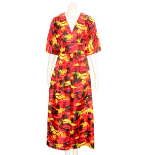 Scenic Red  Japanese Style Caftan