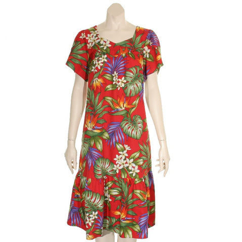 Tulip Sleeve Zipper Back Short Muu Muu  - All Over Tropical Flowers ~ Red