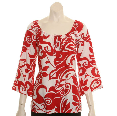 Monstera Swirl  Peasant Top 3/4 Sleeve ~ Red/White