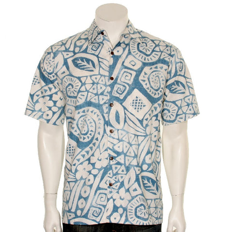 Cotton Island Stamps Men's Aloha Shirt  ~  Blue