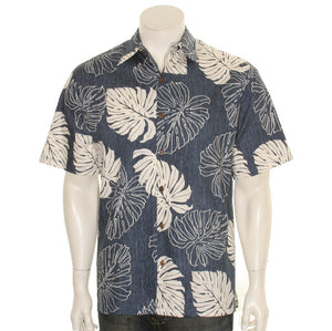 Hilo Hattie 519 Monstera Cotton Men's Aloha Shirt  - Navy