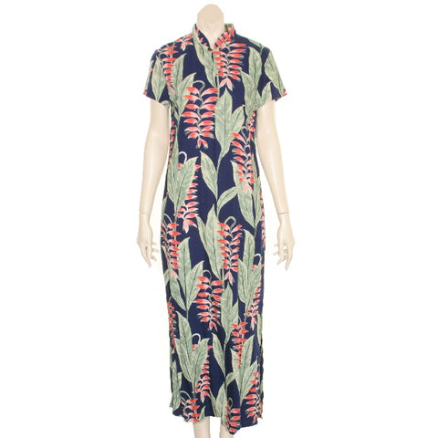 Hilo Hatte  Heliconia Garden  Mandarin Long  Dress (605p-TT70117)-Navy