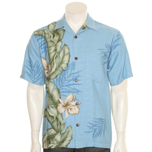 Hilo Hattie Orchid Panel Rayon Dobby Men's Aloha Shirt  - Light Blue