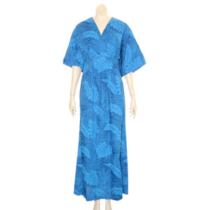 Japanese Style Caftan ~ Monstera  Navy