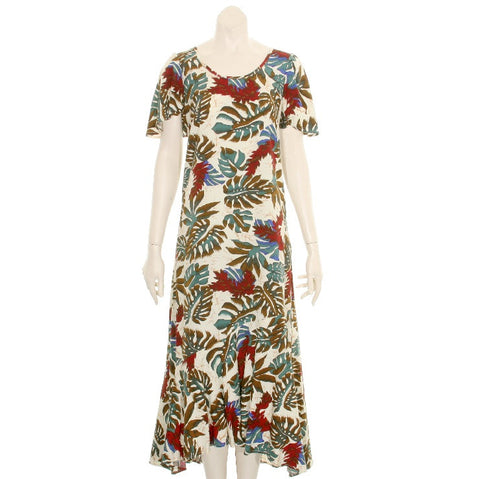 Ladies Red Ginger Short Sleeve Rayon Tea Dress