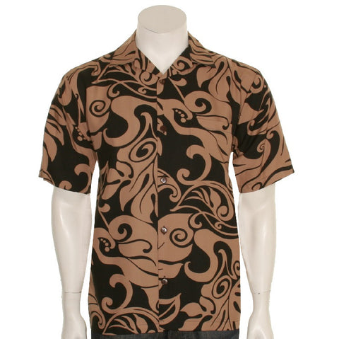 Monstera Swirl Mens Aloha Shirt - Brown/Black