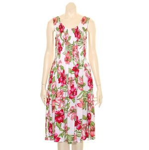 Short Hawaiian White/Pink Tank Style Smock Dress