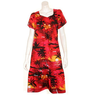 Tulip Sleeve Zipper Back Short Muu Muu ~ Palm Tree  Red