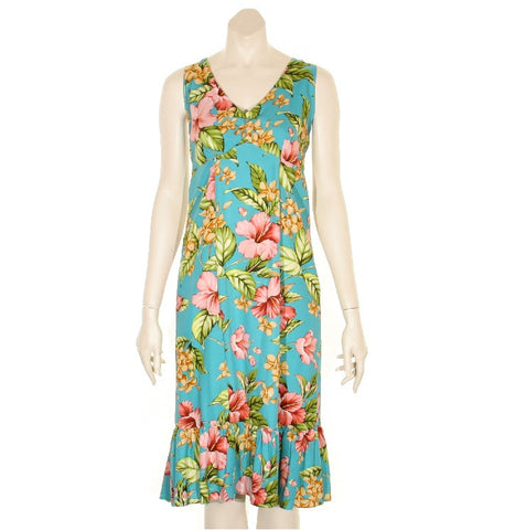Paradise Floral Sleeveless Short Ruffle Dress ~ Turquoise