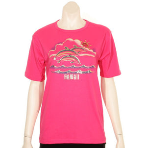 Women's Scoop Neck Foil Dolphin T-Shirt(TSSGF-SN-Dolphin)