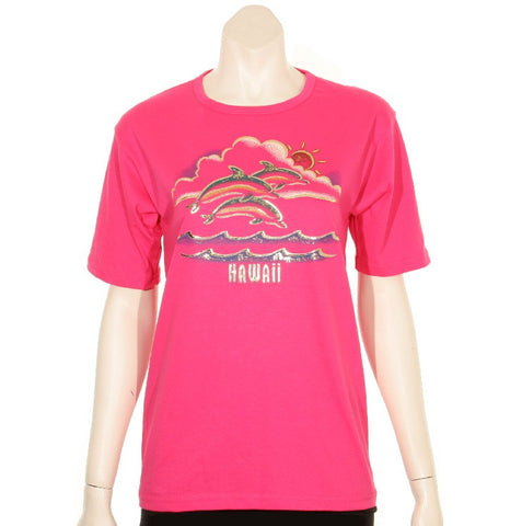 Women's Scoop Neck Foil Dolphin T-Shirt