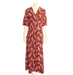 Pineapple Japanese Style Caftan - Burgundy