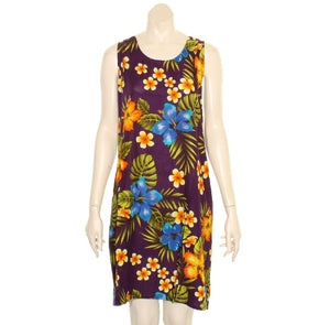 Island Floral Tye Dye Tank Dress (110440) ~ Purple Blue