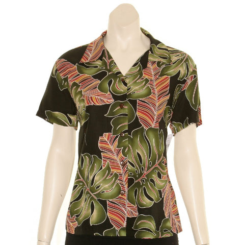 Hilo Hattie Monstera Women's Camp Blouse(W20504) ~ Black