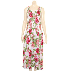 Long Hawaiian  Tank Style Smock Dress WhitePink