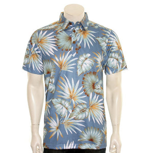 NEW! Palm Monstera Men's Aloha POLO - Blue