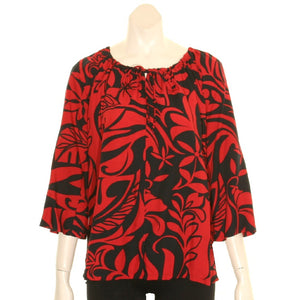 New Tiare Swirl  Peasant Top 3/4 Sleeve