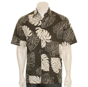 Hilo Hattie 519 Monstera Cotton Men's Aloha Shirt  - Black