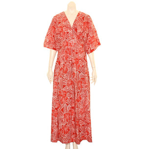 Japanese Style Caftan ~Coral  Red