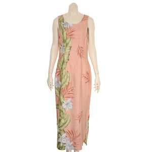 Hilo Hattie Orchid Panel Women's Long Piped Neck Dress(57804-TT70077) - Coral
