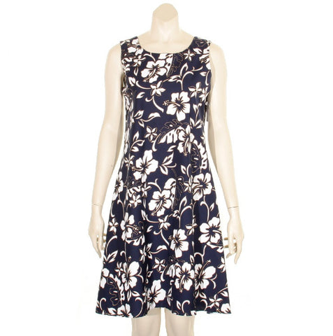 Classic Hibiscus Pareo Short Sleeveless Bias Dress ~ Navy