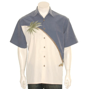 Bamboo Cay Embroidered Hurricane Blue - Men's Aloha Shirt (WB80R)