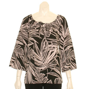 Hilo Hattie  Monstera Peasant Top 3/4 Sleeve ~ Black/Taupe