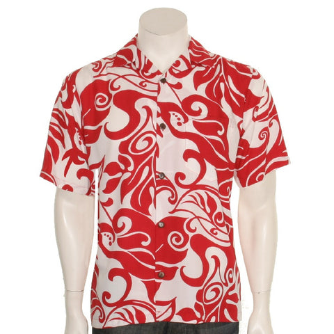 Monstera Swirl Mens Aloha Shirt - Red/White