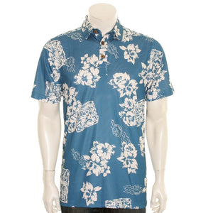 NEW! Floral Postcard Men's Aloha POLO - Blue