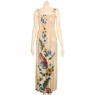 Floral Bird of Paradise Long Smock Dress