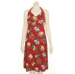 Hilo Hattie Tropical Martini Rayon Tie Back Nohea Short Dress(L3069-70158) ~ Red