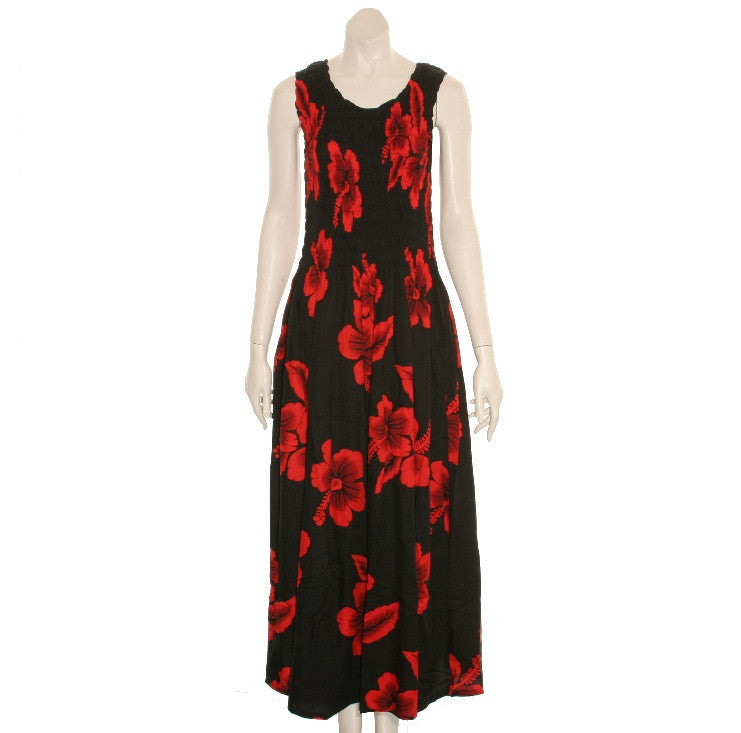09be793ee3d Long Hawaiian Red Hibiscus Tank Style Smock Dress