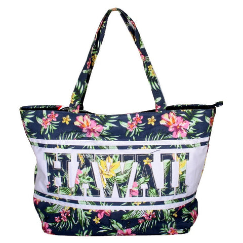 Large Hawaii Tote Bag With Zipper- Blue