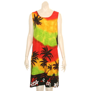 Island Tye Dye Tank Dress(110440) ~ Palm Yellow