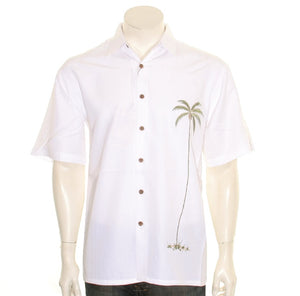 "Bamboo Cay ""Single Palm Island - Off White"" - Men's Aloha Shirt (WB1003T))"