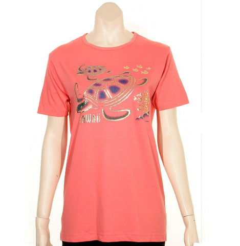 Women's Scoop Neck Foil Honu T-Shirt