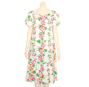 Mixed Floral Short Muu Muu - White