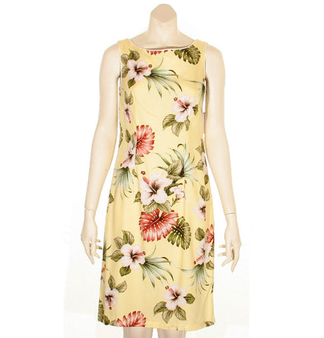 Yellow Hibiscus Floral Women's Short Piped Neck Dress