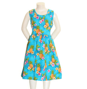 Poipu-pineapple Girls Dress