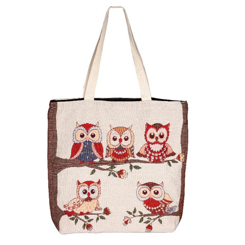 Owl Family Cotton Canvas Tote Bag
