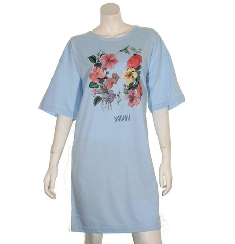 Hibiscus  Beach Cover Up ~ Light Blue