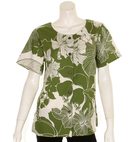 Women's Cotton Hibiscus Round Neck Top ~ Green